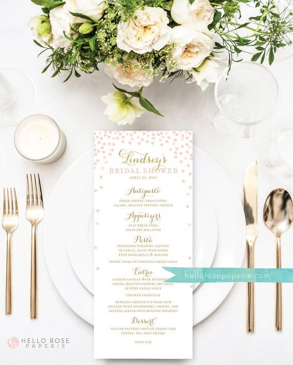 Bridal Shower Menu Template Bridal Shower Menu Printable Wedding Menu Printable