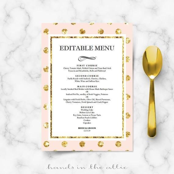Bridal Shower Menu Template Diy Bridal Shower Menu Cards for Wedding Reception