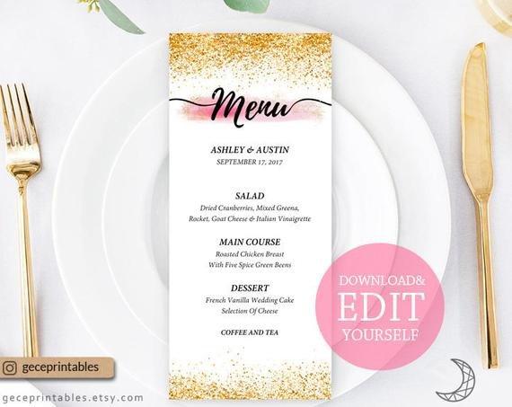 Bridal Shower Menu Template Editable Menu Template 4x9 Printable Menu Card Wedding