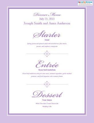 Bridal Shower Menu Template Free Printable Wedding Menu Templates