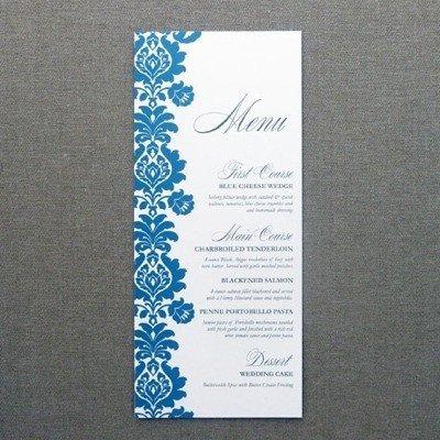 Bridal Shower Menu Template Menu Card Template – Rococo Design – Download & Print