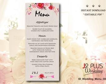Bridal Shower Menu Template Rustic Menu Cards