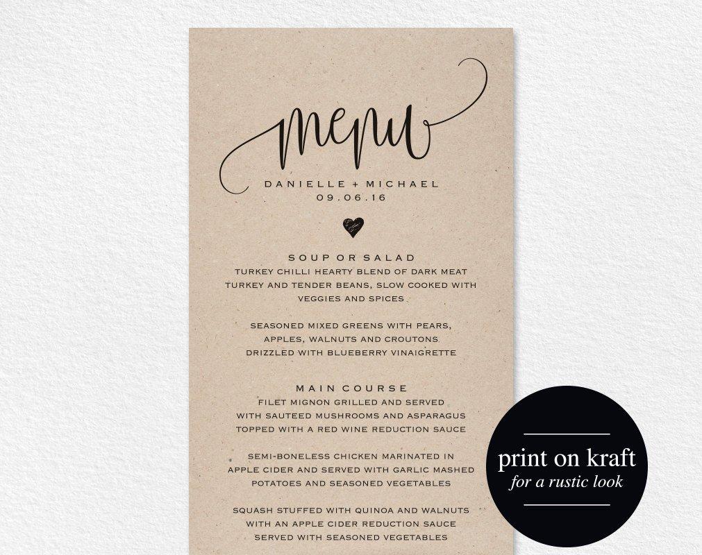 Bridal Shower Menu Template Rustic Wedding Menu Wedding Menu Template Menu Cards Menu