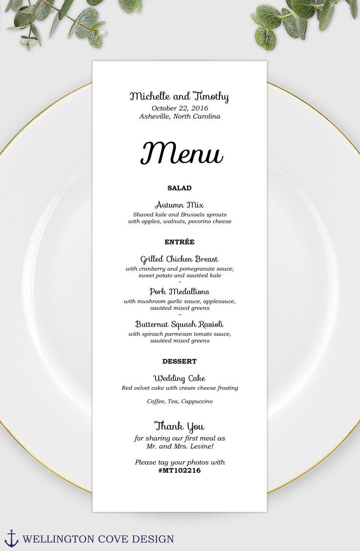 Bridal Shower Menu Template Wedding Menu Template for Microsoft Word • Printable