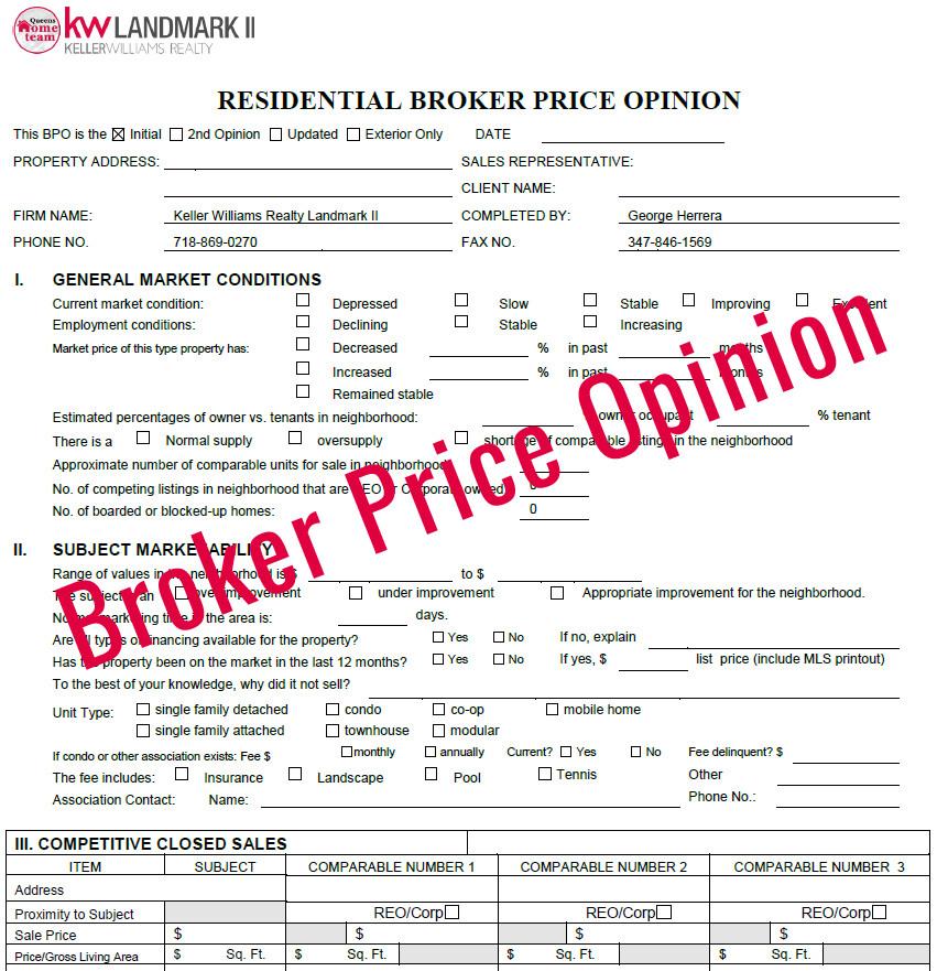 Broker Price Opinion Template Broker Price Opinion Free Broker Price Opinion