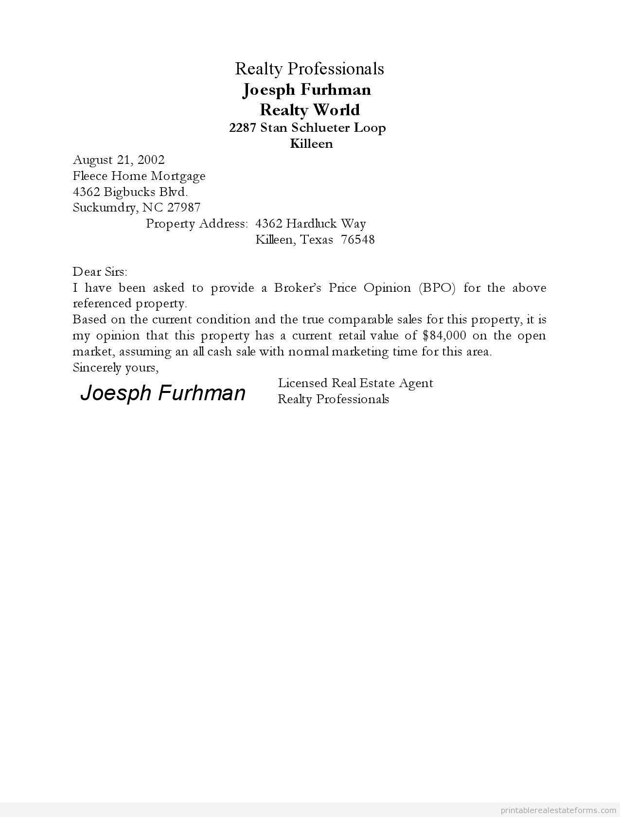 Broker Price Opinion Template Free Printable Broker Price Opinion form Pdf & Word