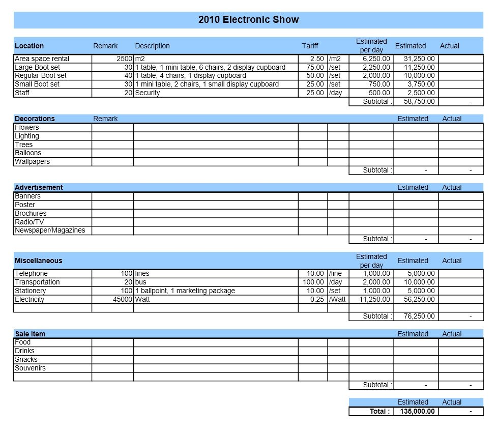 Budget Templates for Excel event Bud