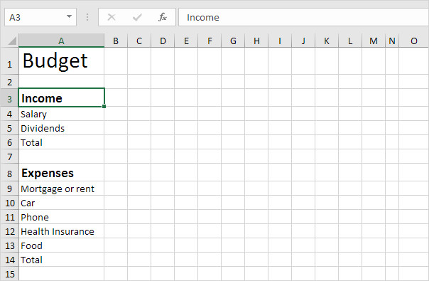 Budgeting Templates In Excel Bud Template In Excel Easy Excel Tutorial