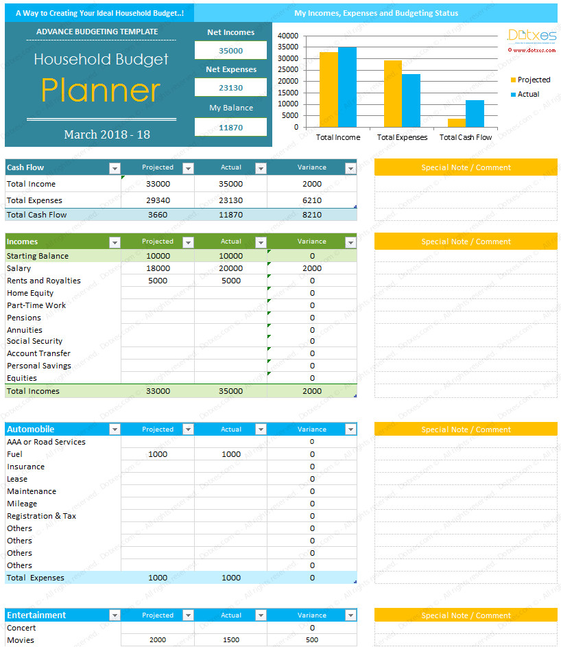 Budgeting Templates In Excel Home Bud Template for Excel Dotxes
