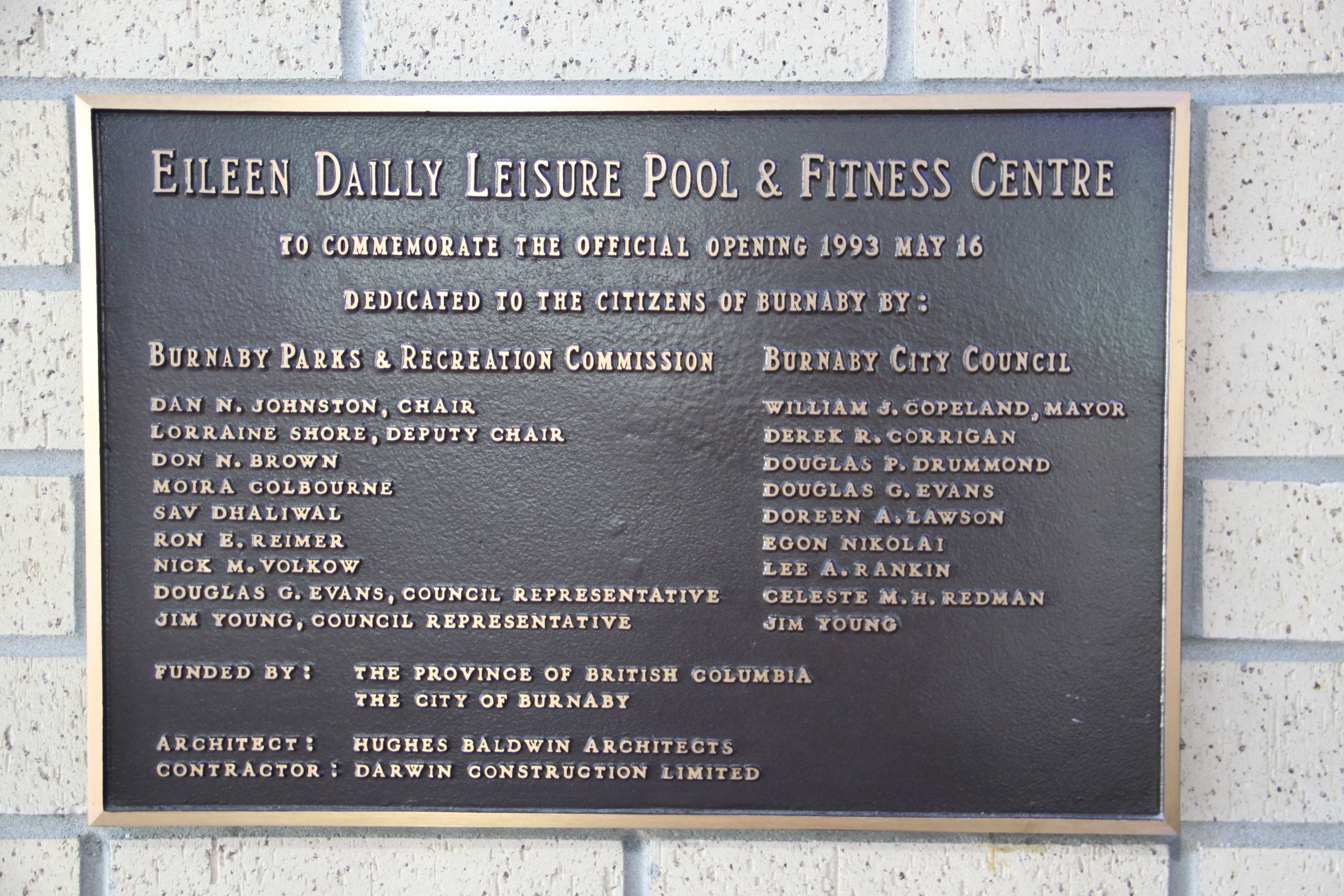 Building Dedication Plaque Wording Samples File Burnaby Eileen Dailly Pool Building Plaque