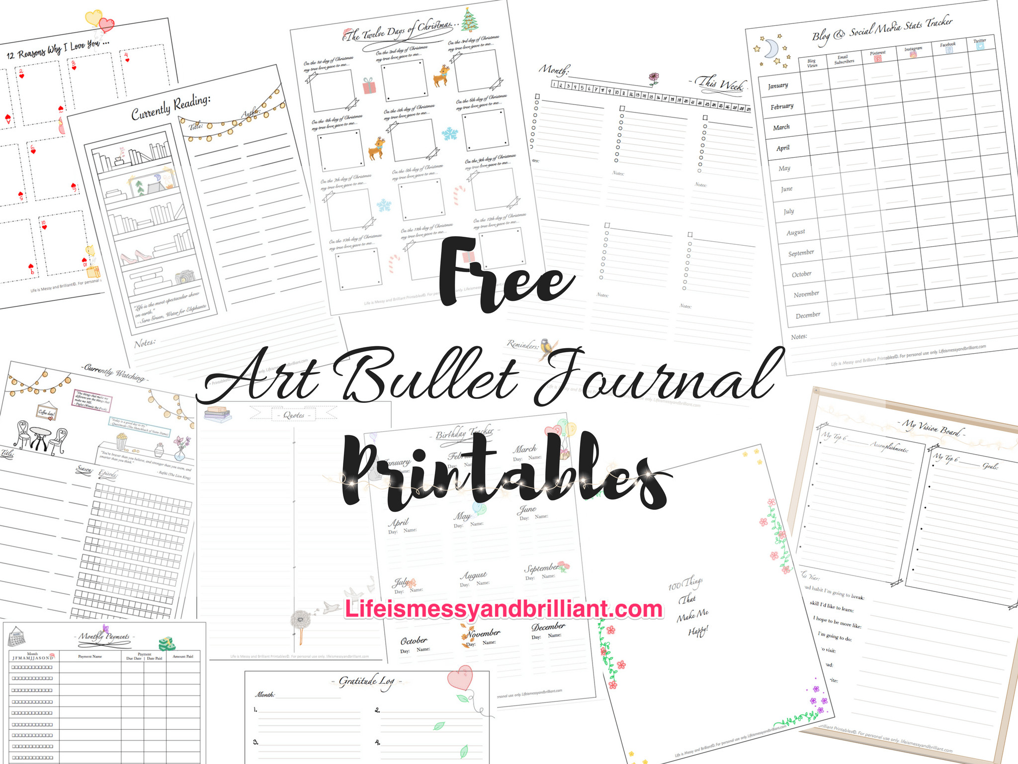 Bullet Journal Free Printables Free Art Lettering and School Printables