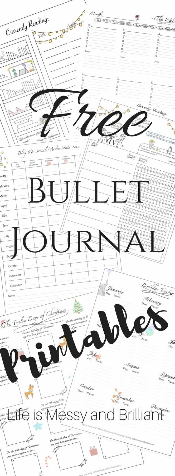 Bullet Journal Free Printables Free Bullet Journal Printables