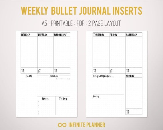 Bullet Journal Layout Templates A5 Weekly Layout On 2 Pages Bullet Journal Printable