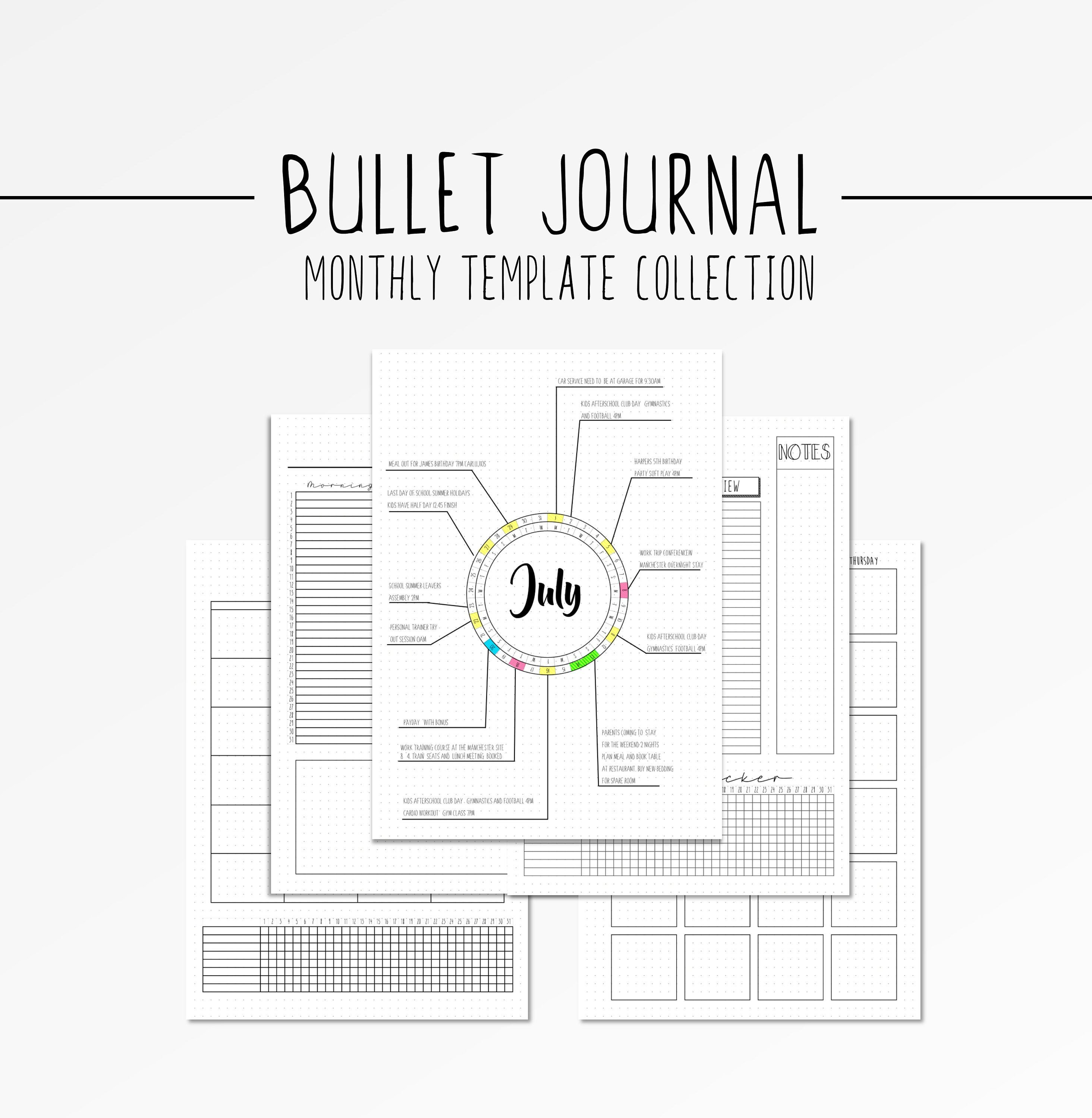 Bullet Journal Layout Templates Bullet Journal Monthly Layout Template Bujo Spread