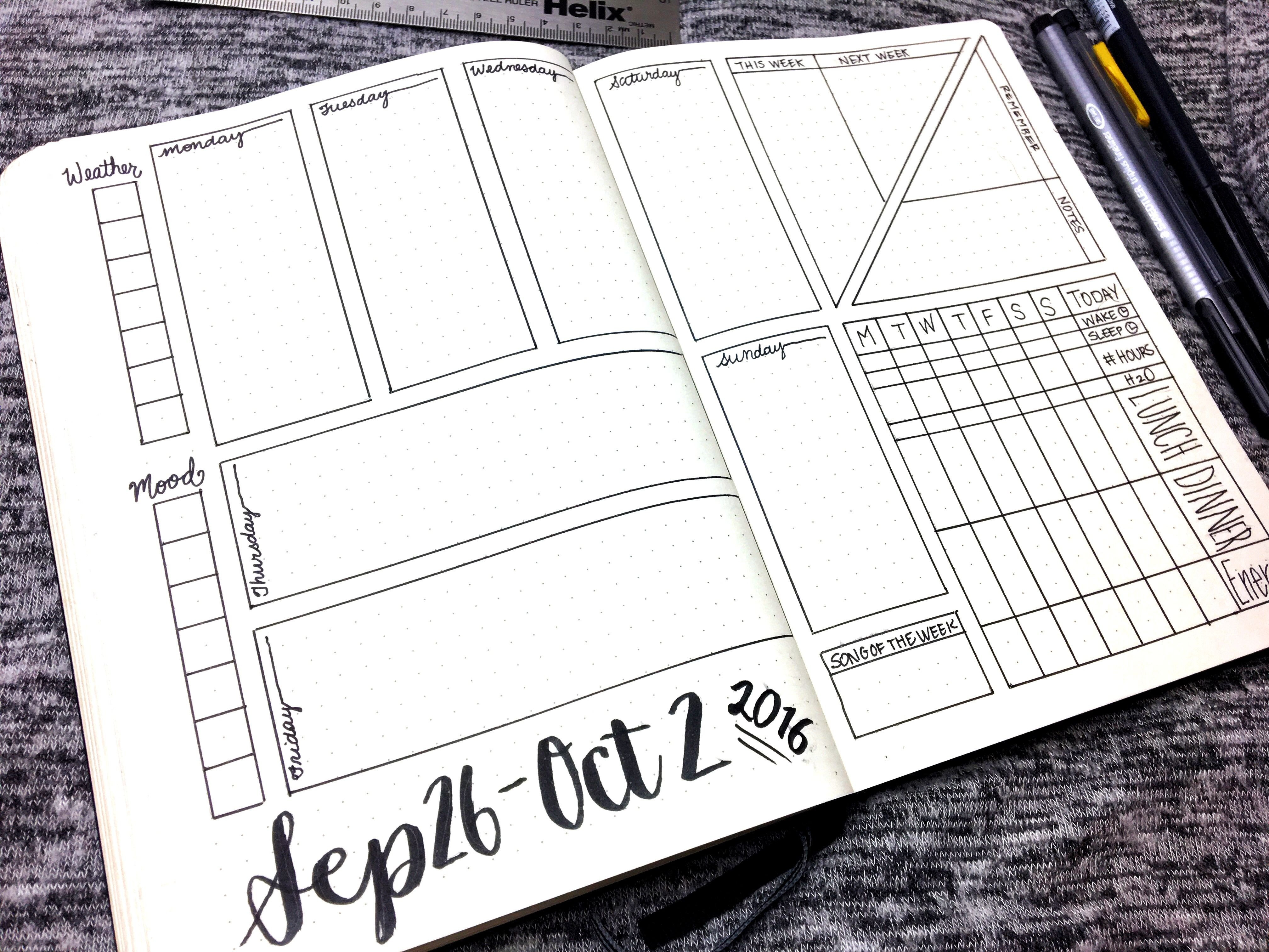 Bullet Journal Layout Templates Bullet Journal Weekly Layout September 26 October 2