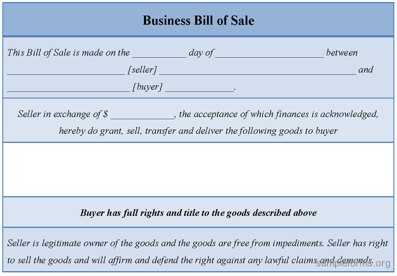 Business Bill Of Sale Car Bill Sale Sample Free Printable forms