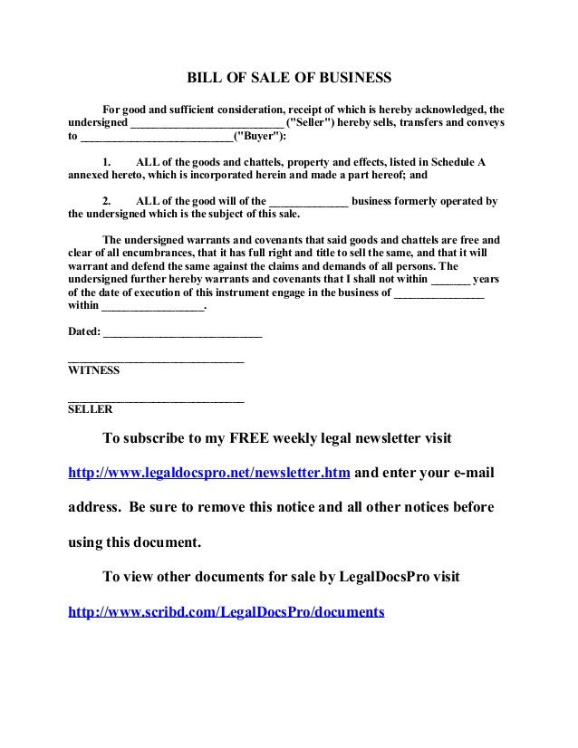 Business Bill Of Sale Free Sample Bill Of Sale Of Business