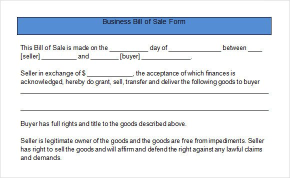 Business Bill Of Sale Sample Business Bill Of Sale form 6 Free Documents In