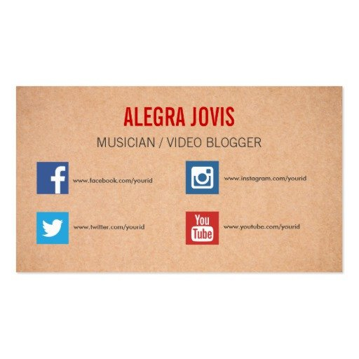 Business Card social Media social Media Musician You Tube Business Card