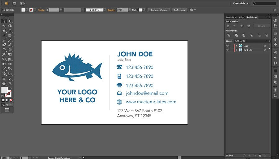 Business Card Template Illustrator Business Cards Template for Pages or Illustrator