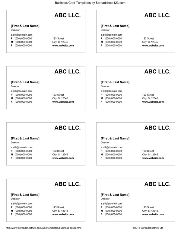 Business Card Template Microsoft Word Business Card Templates for Word