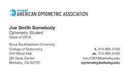 Business Cards for Students American Optometric association