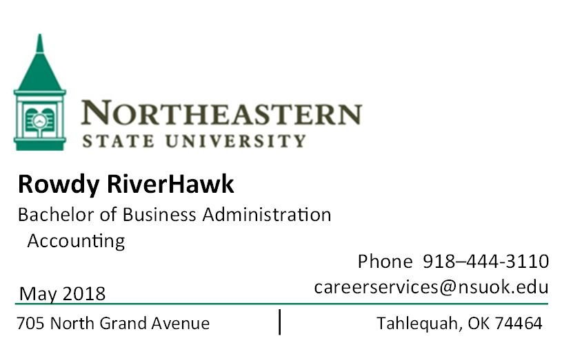 Business Cards for Students Career Services