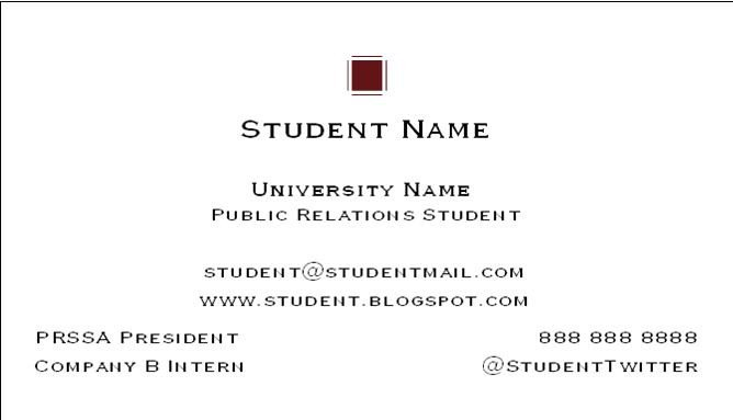 Business Cards for Students How to Create A College Student Business Card