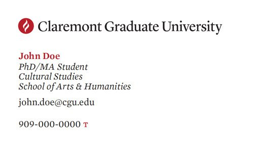Business Cards for Students Student Business Cards Claremont Graduate University