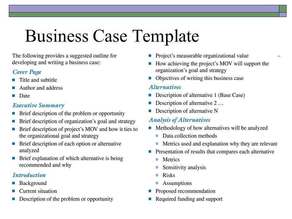 Business Case Template Ppt Business Case Template Template