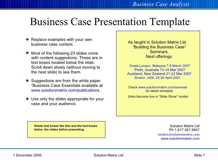 Business Case Template Ppt Powerpoint Business Case Template