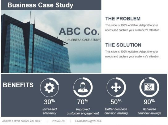 Business Case Template Ppt Style Linear Single 4 Piece Powerpoint