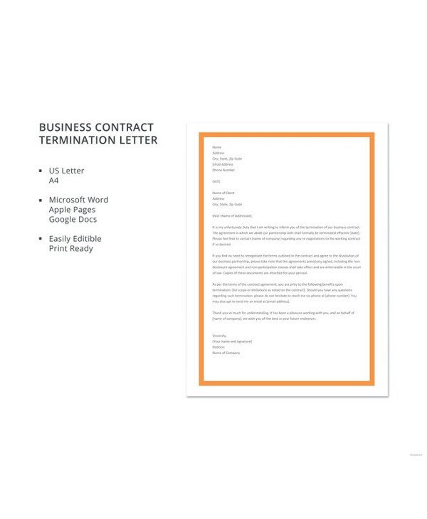 Business Contract Termination Letter 13 Contract Termination Letter Examples Pdf Google