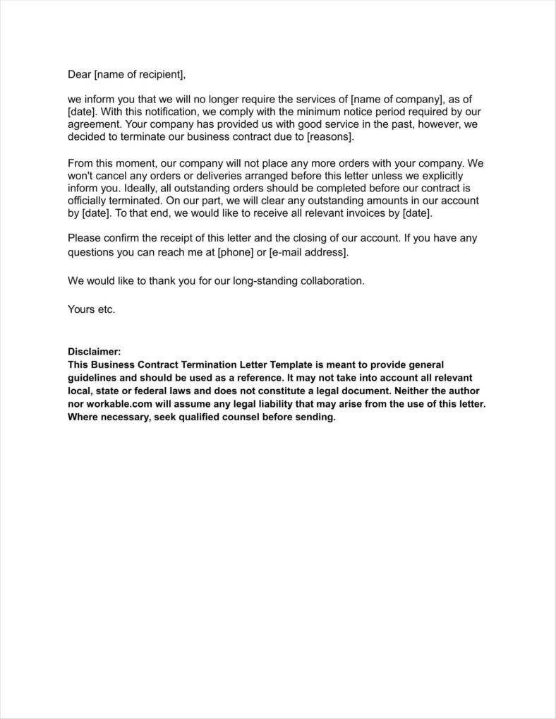 Business Contract Termination Letter 20 Agreement Termination Letters Free Word Pdf Excel