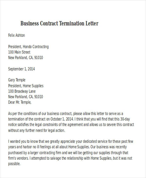 Business Contract Termination Letter 32 Termination Letter Examples Doc Pdf Ai