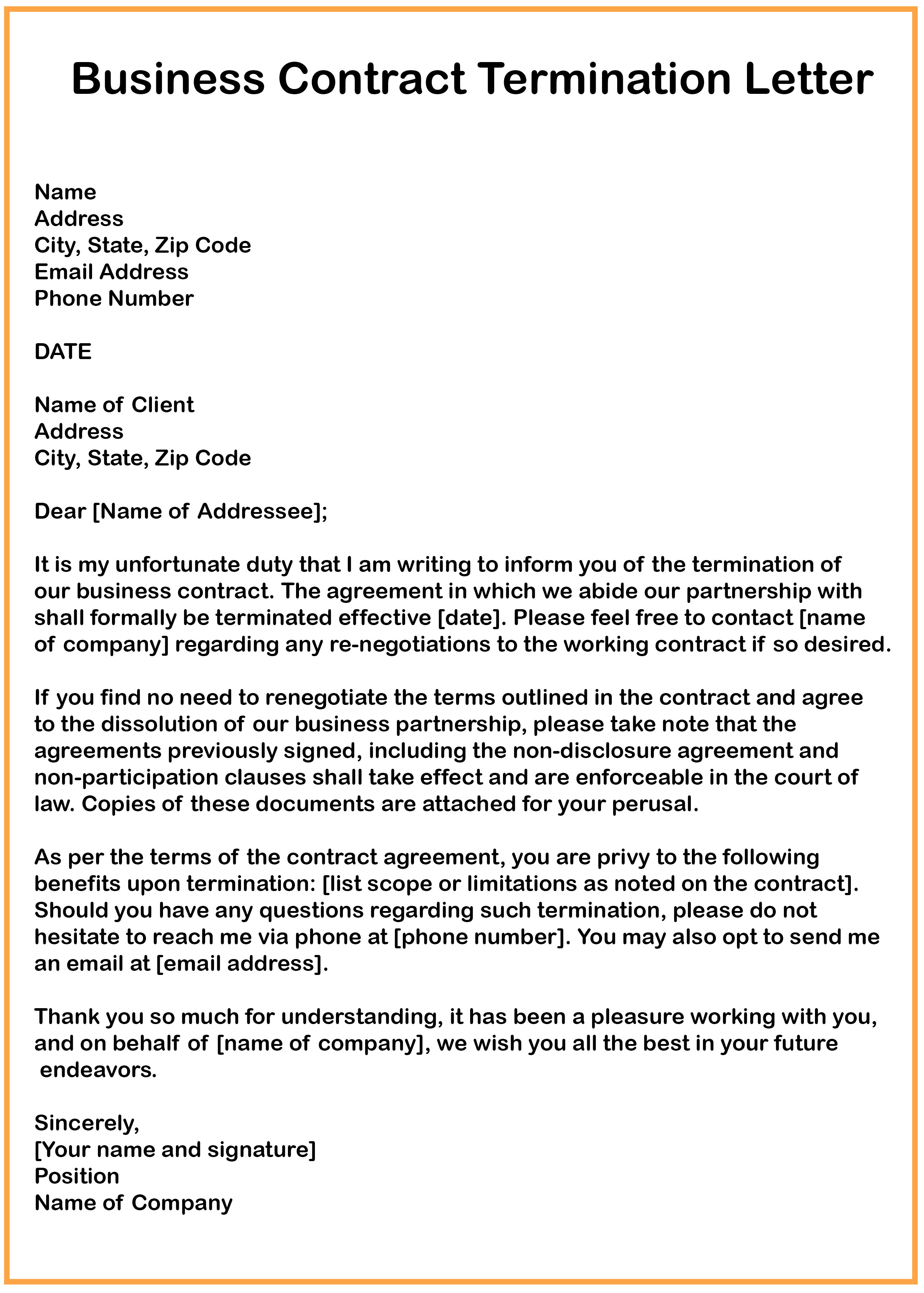 Business Contract Termination Letter 7 Business Contract Termination Letter Samples