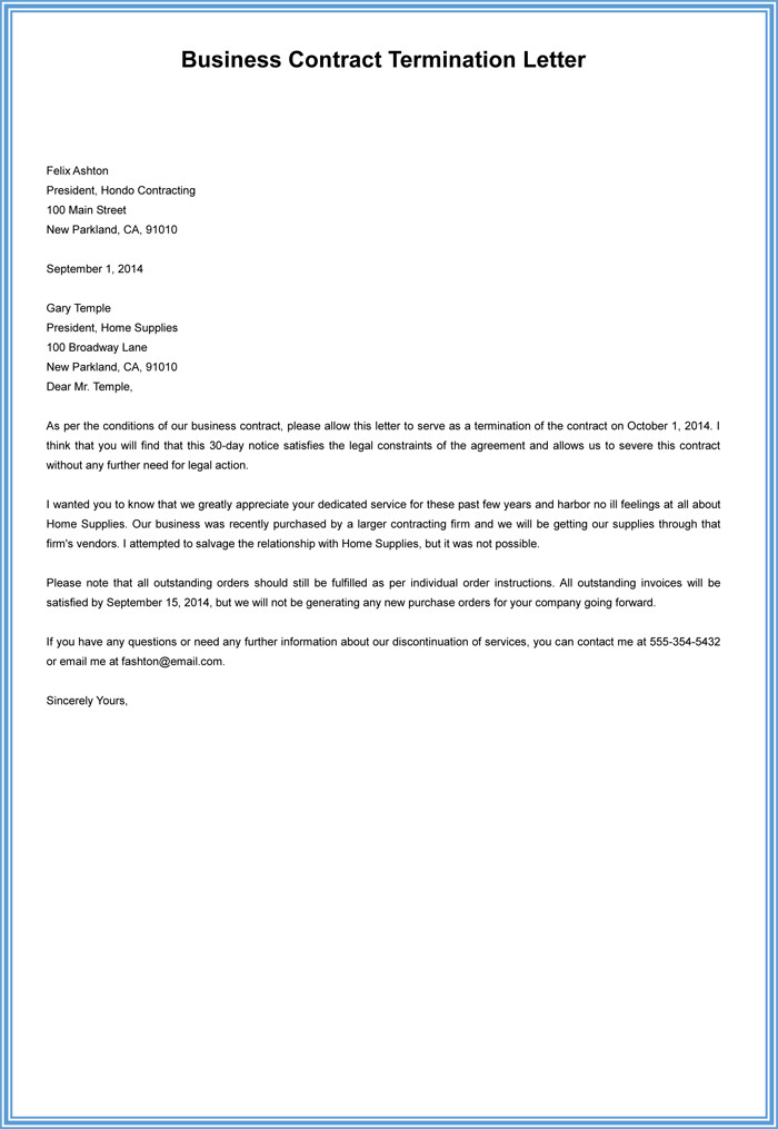 Business Contract Termination Letter 7 Employment Termination Letter Samples to Write A