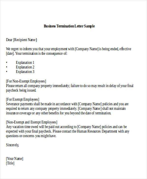 Business Contract Termination Letter 7 Sample Termination Of Business Letters Pdf Word