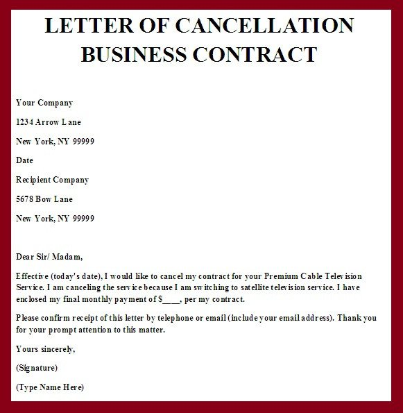 Business Contract Termination Letter Contract Termination Letter