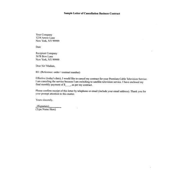 Business Contract Termination Letter How to Write A Sample Letter Of Cancellation Business Contract