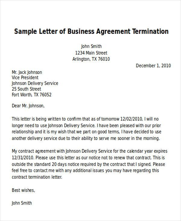 Business Contract Termination Letter Sample Termination Business Letter Examples Word Pdf