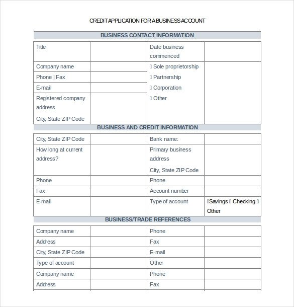 Business Credit Application Template 18 Credit Application Templates Free Google Docs