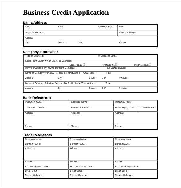 Business Credit Application Template Credit Application Template – 13 Free Word Pdf Documents