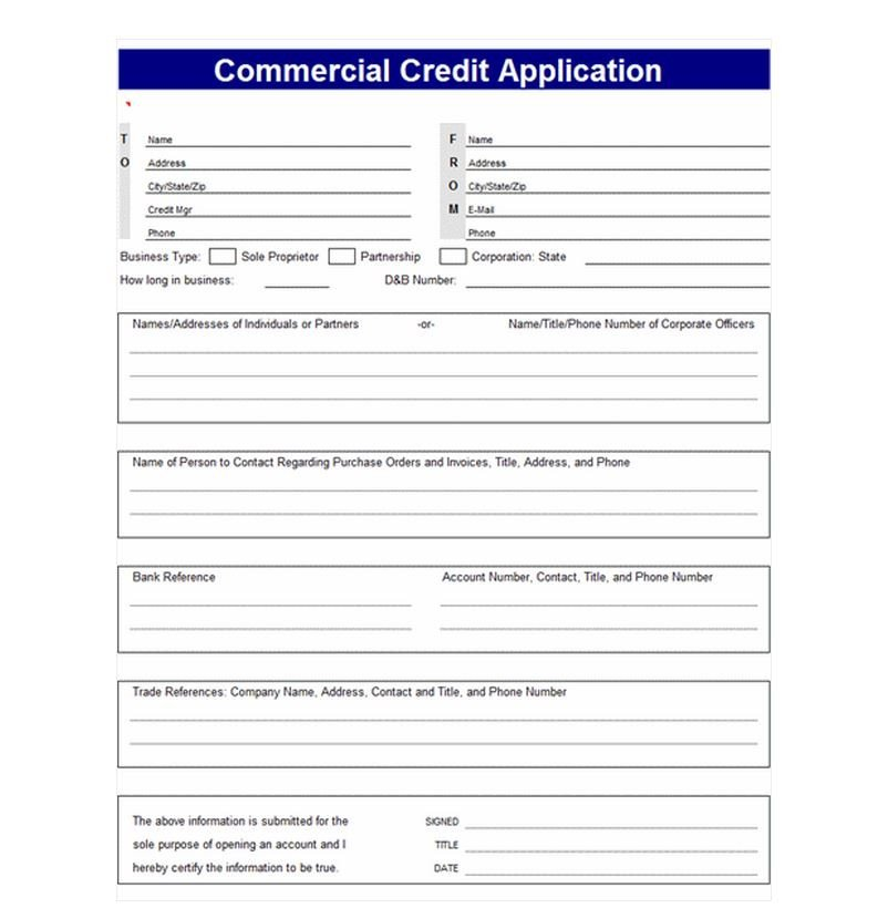 Business Credit Application Template Credit Application Template