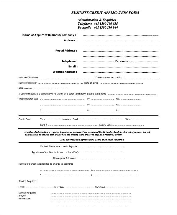 Business Credit Application Template Sample Credit Application 11 Examples In Pdf Word