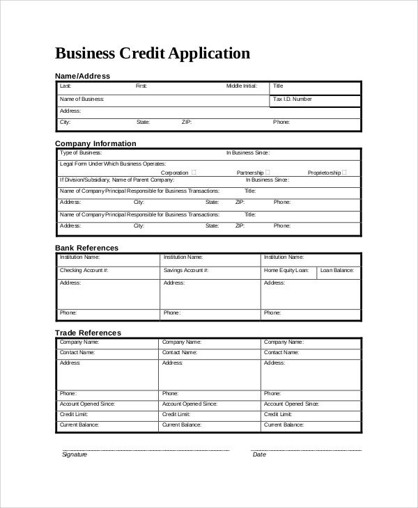 Business Credit Application Template Sample Credit Application form 8 Documents In Pdf Word