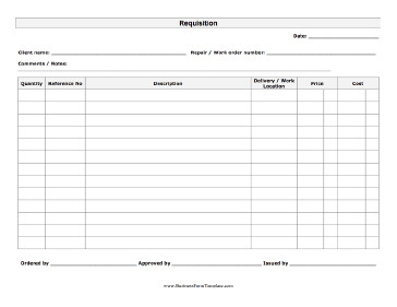Business forms Templates Free Requisition form Template