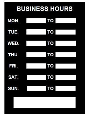 Business Hours Template Microsoft Word Business Hours Sign Pdf Template Download