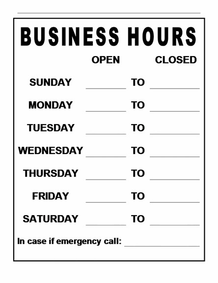 Business Hours Template Microsoft Word Business Hours Template
