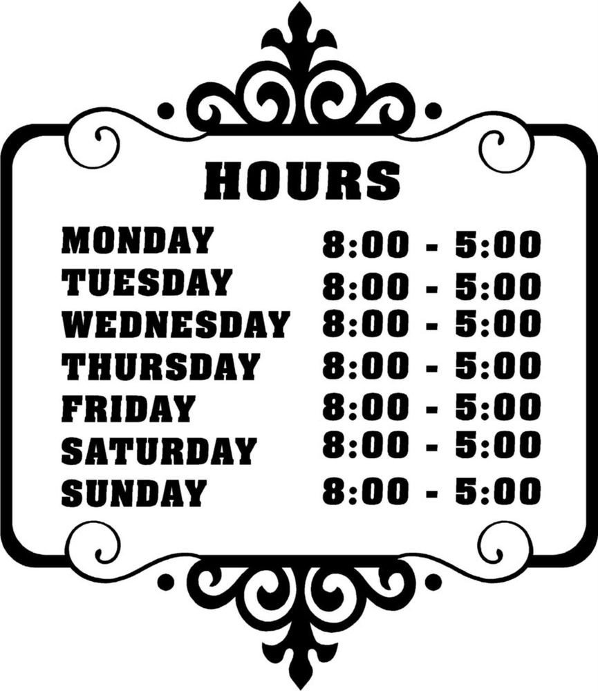 Business Hours Template Microsoft Word Custom Store Business Hours Sticker Vinyl Decal Sign
